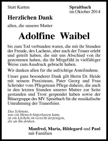 Zur Gedenkseite von Adolfine