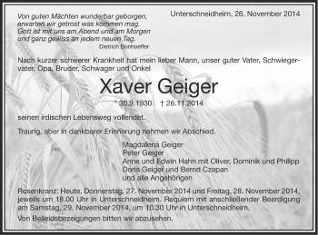 Zur Gedenkseite von Xaver