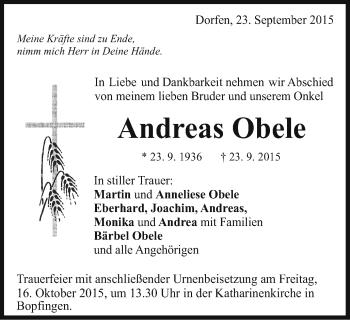 Zur Gedenkseite von Andreas