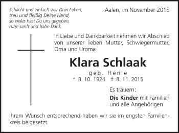 Zur Gedenkseite von Klara Schlaak