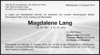 Zur Gedenkseite von Magdalene