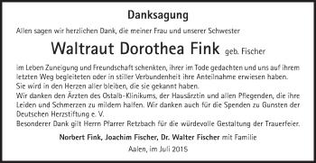 Zur Gedenkseite von Waltraut Dorothea